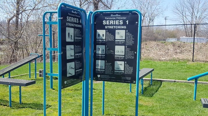 Joggers, bikers and other people can stop to work out at calisthenics parks in and around Rochester with pull bars, incline bars and high bars for muscle-ups. Shown is calisthenics station on the Genesee River trail in Rochester.