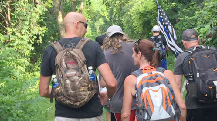 Ruck members embark on their journey. The hikes are organized locally by member of the Canandaigua Brewery Ruck.