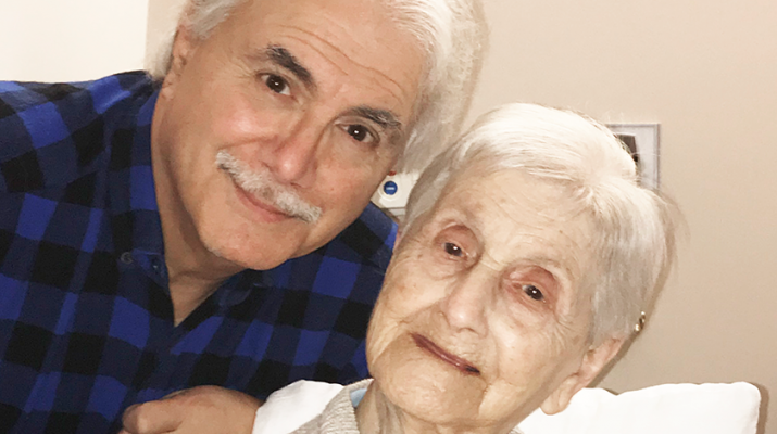George Pecoraro, 72, and his mother, Mary, during her celebration of her 105th year.