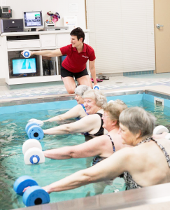 Getting in a water workout in the HydroWorx pool at The Pieters Life Center in Henrietta. Aquatic therapy offers a number of advantages for patients with orthopedics issues or other injuries.