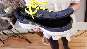 Sample of modified sneakers made by Jill Glidden. Her technology is now patent pending.