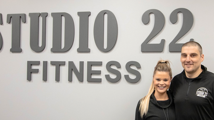 "Maddie and John Nizamis are owners of Studio 22 Fitness in East Rochester and Hilton. ""Plan what you eat and make sure exercise is a big part of your life,"" he says."