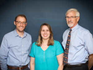 Team at Hart Hearing and Balance Centers: audiologists Peter Hart, Sarah Hodgson and Stephen Hart.
