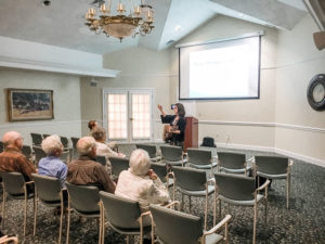 "Presenting ""Music Therapy and Aging: Nurturing Connection Through Music, Rhythm, and Dance"" for a group of residents in Pittsford."