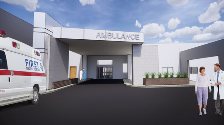 Architectural rendering of the proposed emergency department at Clifton Springs Hospital.