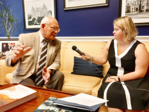Kayla McKeon interviewing Congressman Paul Tonko (D-NY20) on his stand on various issues