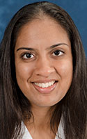 """Physician Himabindu Vidula is the cardiovascular director of the UR Medicine Comprehensive Sarcoidosis and Amyloidosis Programs and a heart failure cardiologist. """"I've seen patients as early as their mid-30s who needed a heart transplant because of sarcoidosis,"""" she says."""